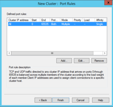 Configure port rules and affinity