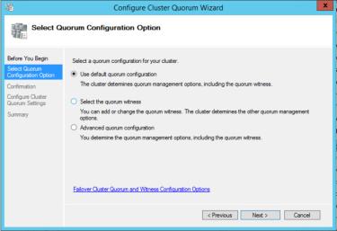 Options in the Configure Cluster Quorum Wizard